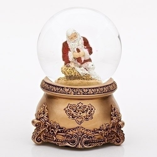 Kneeling Santa Filigree 80MM Musical Glitterdome Plays Tune O Come All Ye Faithful
