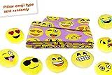 tie dye sheet full - Fabugears Emoji Fun Sheet Set Comes With Plush Round 13 Inch Yellow Pillow Emoticon - 4 Piece (PURPLE, Full Size)