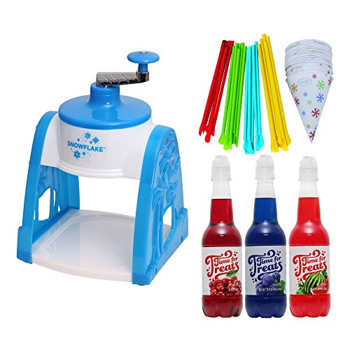 Victorio Time for Treats Manual Snow Cone Maker + Spoon Straws & Cups 25-Pack + Snow Cone Syrup 3-Pack (Shaved Ice Machine Manual)