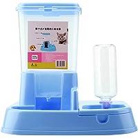 Zerodis 2 En 1 Alimentador automático de Mascotas Dispensador de Alimentos Desmontable Botella de Agua Herramienta de alimentación Inteligente para Perros Gatos (Blue)