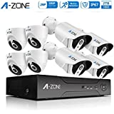A-ZONE HD-TVI Home Security System 8-Channels Surveillance DVR Recorder With 4x 1080P Indoor Outdoor CCTV Dome Cameras and 4x 1080P IP67 Waterproof Bullet Camera With IR Night Vision- 2TB Hard Drive