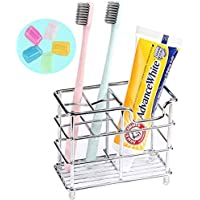 Bathroom Toothbrush Holder Toothpaste Holder Stand - Stainless Steel for Bathroom(Silver)