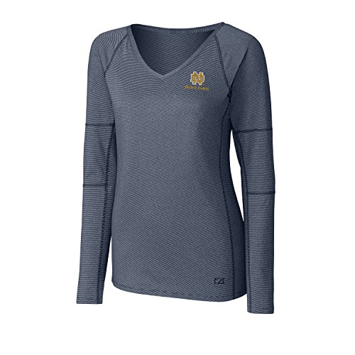 Cutter & Buck NCAA Notre Dame Fighting Irish Adult Women Long sleeve Victory V-Neck, Medium, Liberty ()