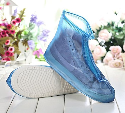 HevaKa Moda Zapatos Impermeables Azul Calzado Impermeable con Cremallera Reutilizable Cubiertas Alta Elástica Tela de La Cubierta Espesa Suela Antideslizante Zapatos Resistente al Desgaste de Cubierta Azul