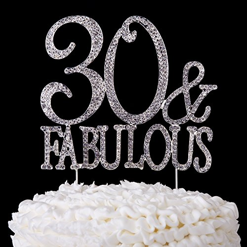 30-and-Fabulous-Cake-Topper-30th-Birthday-Party-Supplies-Silver-Rhinestone-Decoration-Toppers-Silver