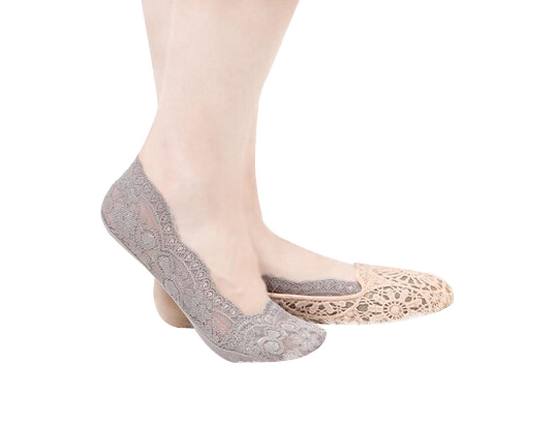 3 Pairs Women Lace Shoe Liner No Show Socks Girls Liner Socks, GRAY