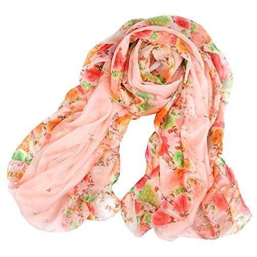 Femmes écharpe de mode motif de fleur de Châle confortable, Orange/rose