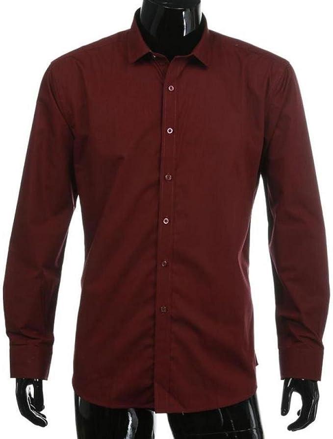 Saihui Camisa de manga larga para hombre, color liso, color rojo vino: Amazon.es: Deportes y aire libre