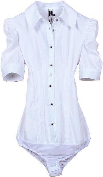 ZAMME De la Mujer de Manga Corta Blanca Delgada Camisa Body Blusa Superior: Amazon.es: Ropa y accesorios