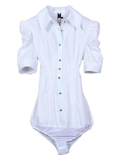 ZAMME De la Mujer de manga corta blanca delgada camisa Body blusa superior
