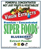 Virgin Extracts (TM) Pure Premium Organic Freeze Dried Blueberry Extract SuperFood Blueberry Powder 4:1 Concentrate (4 X Stronger) 16oz Pouch