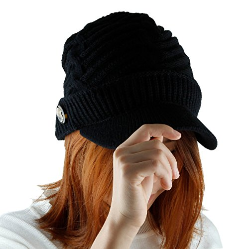 Samtree Womens Beanie Hat,2 or 1 Pack Winter Warm Cable Knit Hats Visor Cap(Black)