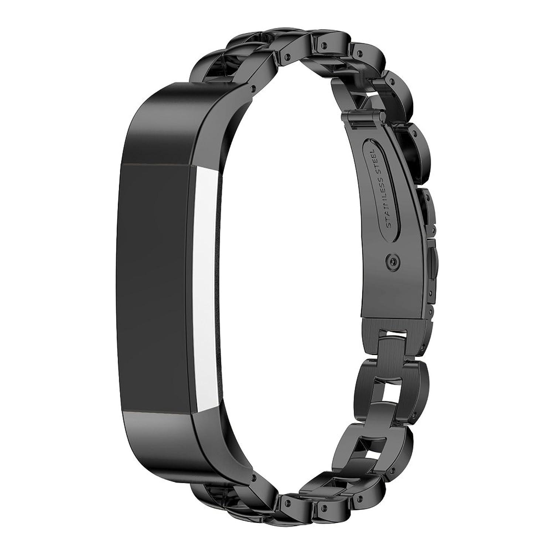 ステンレススチール交換リストバンドバンドストラップfor Fitbit ALTA Smart Watch by d.b. Moodブラック  B01KFG4S60