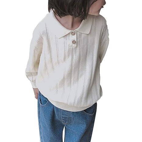 843da053d1d50 juqilu Sweat-Shirt Manches Longues bébé garçon Fille col en V Mignon Tricot Chaud  Pull
