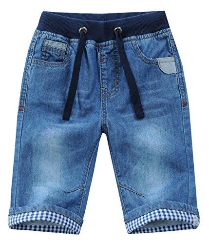 JiaYou Child Boy Mid Waist Elastic Straight Stretch Summer Capris Cropped Denim Jeans(A,8 Years) Boys Capri Pants