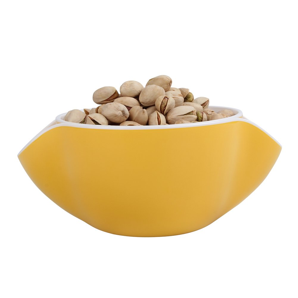 Royoma Double Dish Nut Bowl for Pistachio Shell Storage,Yellow