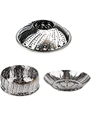 """ValueHall Vegetable Steamer Insert Folding Stainless Steel Steamer Basket with Handle, Adjustable Expandable Petals, Fit Various Size Pot (5"""" to 9"""") V7040-1"""