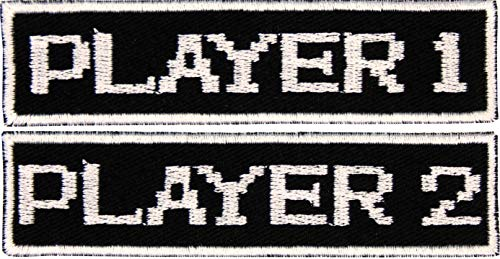 Set of 2 Patches - 8 Bit Video Game Player 1 and Player 2 Patch Iron On Appliques - Black, White - 4