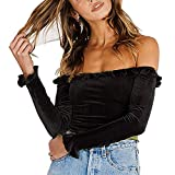 Susupeng Women Off The Shoulder Long Flare Sleeve Ruffles Ruched Velvet Crop Tops Sexy Casual T-Shirt (Small, Black)