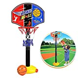 Toddler Kids Sports Toy Easy Score Basketball Set Mini Basketball Toy Adjustable Basketball Hoop Stand Set for Boys Girls Outdoor Indoor Sports Train Player (One Set)