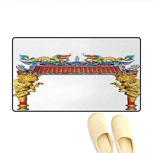 Bath Mat,Chinese Style Dragon Archway Statue Over Pillars in Asian Temple Mythology Art,Door Mat Indoors Bathroom Mats Non Slip,Yellow Red Blue,Size:24