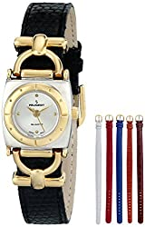 Peugeot Women's 632TT Square Two-Tone Watch with Six Interchangeable Leather Bands