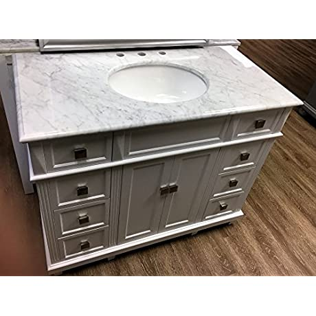 42 White Contemporary Bathroom Vanity And Sink Combo With Carrara Marble Top