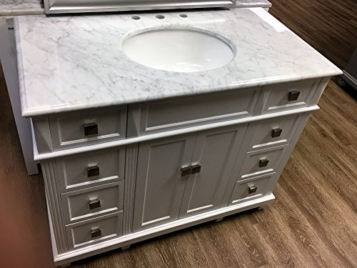 42'' White Contemporary Bathroom Vanity and Sink Combo with Carrara Marble Top by DFW Bath Vanities