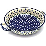 Polish Pottery Baker - Round with Handles - Large - Bleeding Heart