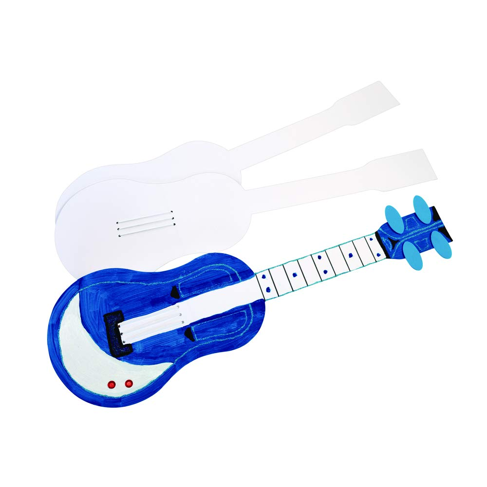 Colorations Cardboard DIY Guitars, Set of 12, Sturdy, for Kids, Personalize, Music, Instruments, Pretend Play, Dramatic Play, Playing, Rock, Decorate Your Own by Colorations