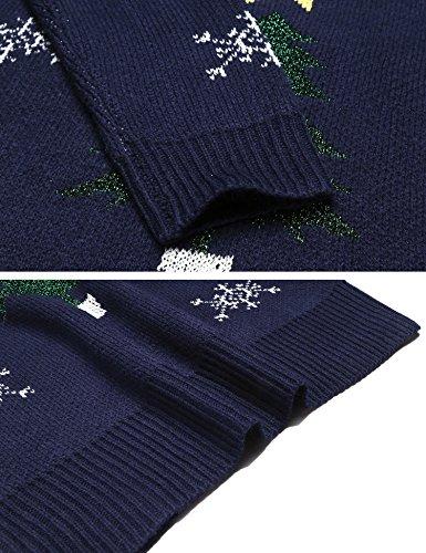 Bleu de de Impression Santa Automne Marine Soiree No Femme 1 Pull l Meaneor hiver Cocktail Robe 1pwq1O