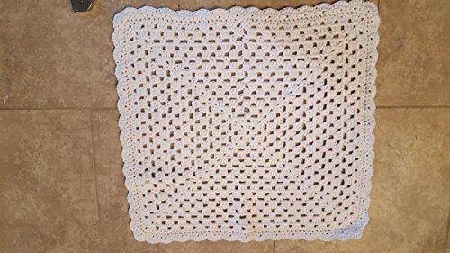 infant, newborn, baby crocheted blanket, white (White Crocheted Blanket Baby)