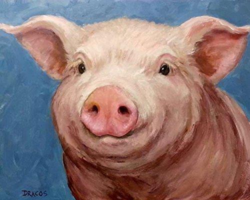 light blue background, Print of Original Painting by Dottie Dracos, Farm Animals, Piglet, Pink Pig, swine, farm animal art, animal art ()