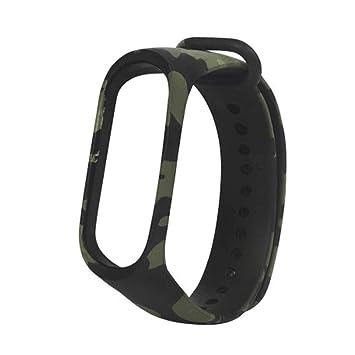 Womdee Mi Band 3 Correa, Correa de Reloj Verde Camuflaje Reemplazo Silicona Camuflaje Estilo Ejército