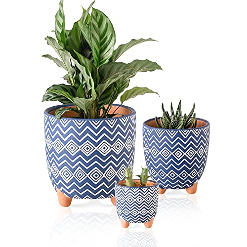 Terracotta Plant Pots Set of 3 Succulent Clay Flowerpot Indoor Handmade Unglazed Planter 6.1+4.5+3 in Embossed Pattern with Drainage Hole