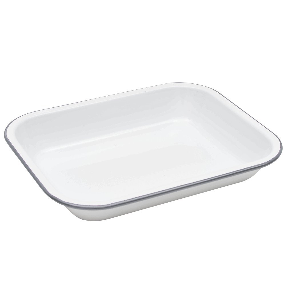 Enamelware Small Roasting Pan - Solid White with Grey Rim