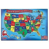 """Melissa & Doug EE. UU. (Estados Unidos) Mapa Rompecabezas de piso, Limpie la superficie, Enseña Geografía y formas, 51 piezas, 24 """"L x 36"""" W"""