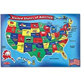 """Melissa & Doug USA (United States) Map Floor Puzzle, Wipe-Clean Surface, Teaches Geography & Shapes, 51 Pieces, 24"""" L x 36"""" W"""