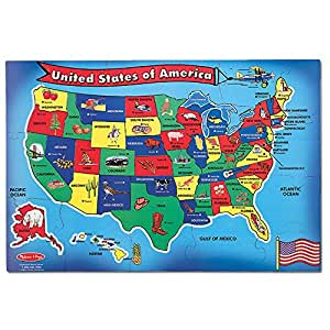 Amazon.com: Melissa & Doug USA (United States) Map Floor Puzzle ...