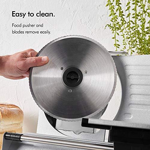 VonShef Professional Electirc Meat Slicer - Stainless Steel – Specialist Food Slicer Cutting Machine for Deli Meats, Cheese, Bread, Vegetables – Featuring Thickness Control, Smooth Sliding Plate, Food Pusher, Anti Slip Feet by VonShef (Image #2)