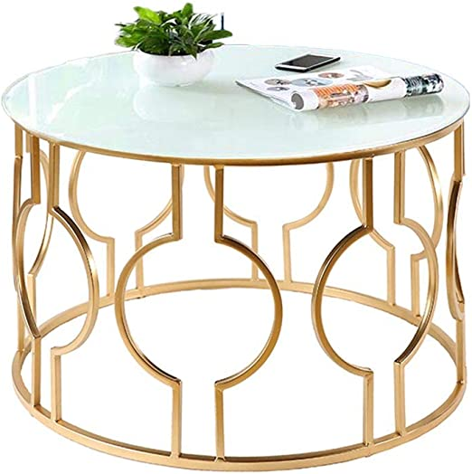 Amazon Com Home Warehouse Nordic Tempering Glass Coffee Table Creative Living Room Round Sofa Table Iron Art Side Table Corner Table Small Decoration Leisure Reading Table Furniture White Home Kitchen