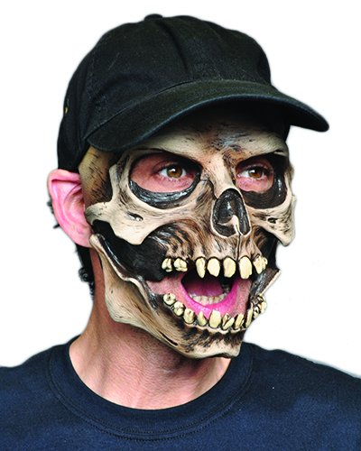Zagone Skull Cap Mask, Skeleton & Baseball Cap, Moving Mouth (Skeleton Halloween Mask)