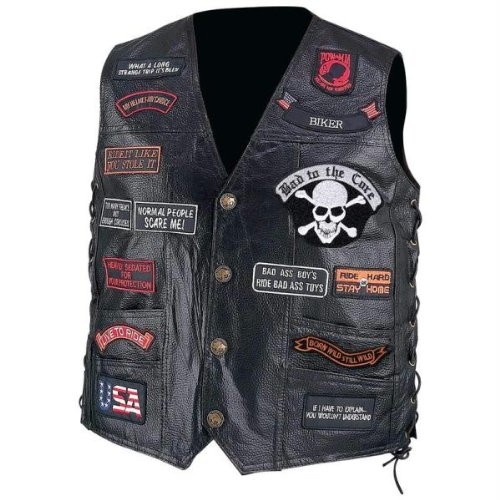 Diamond Plate Hand-sewn Pebble Grain Genuine Buffalo Leather Biker Vest With 23 Patches ()