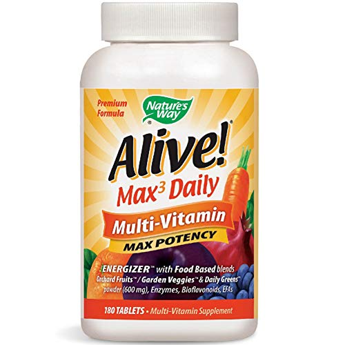 Natures Way Alive! Premium Max3 Daily Multi-Vitamin Energizer w/Food Based Blends, 180 Count