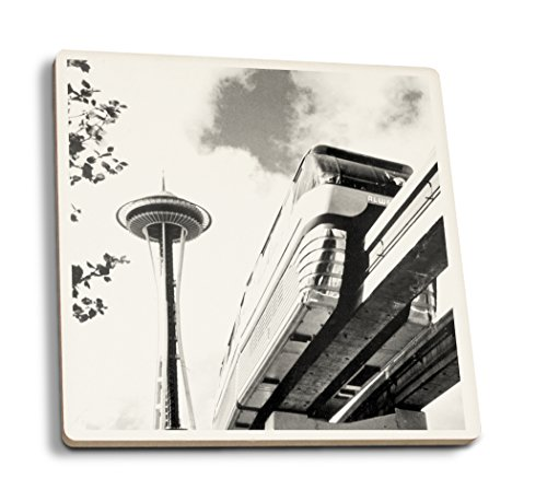(Seattle, Washington - Space Needle and Monorail - Vintage Photograph (Set of 4 Ceramic Coasters - Cork-Backed, Absorbent))
