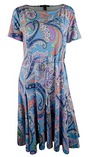 Ralph Lauren Women's Plus Size Short-Sleeve Paisley-Print A-Line Dress-BM-1X
