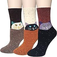 amandir Pack de 3CALCETINES calcetines de lana, Cute Animal Cartoon Casual para Mujer diseño & Calcetines De Algodón Suave