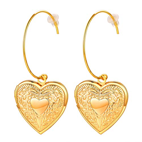 U7 Fashion Heart Locket Dangle Earrings 18K Gold Plated Half Open Drop Earring