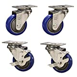 Service Caster – 3'' Blue Polyurethane Wheel – 2 Stainless Steel Swivel and 2 Stainless Steel Swivel Casters w/Brakes