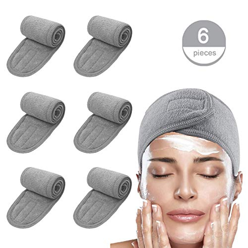 Instrument Washing - Spa Facial Headband Hair Wrap Make Up Head Cloth Leaflai Headbands Women Hair For Washing Adjustable Towel with Magic Tape Non-slip Stretchable Washable for Face Treatment Sport (6 PCS, Gray)
